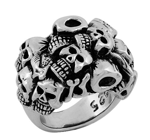 Stainless Steel Multiple Skull Ring (Available in Sizes 10 to 14) size12