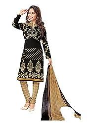 RK Fashion Womens Chiffon Un-Stitched Salwar Suit Dupatta Material ( Rajguru-Rimzim-9034-Black-Free Size )