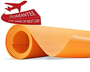 "Yes4All Premium PVC Yoga Exercise Mat (Exclusive Orange Yoga Mat - 68""x5mm)"