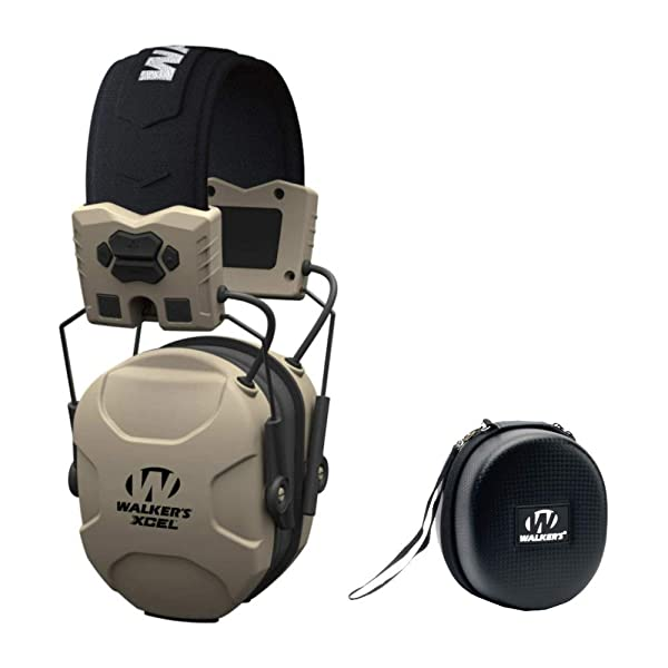 Walkers XCEL 100 Digital Electronic Shooting Hearing Protection Muff with Voice Clarity, and Protective Case Bundle (Color: White)