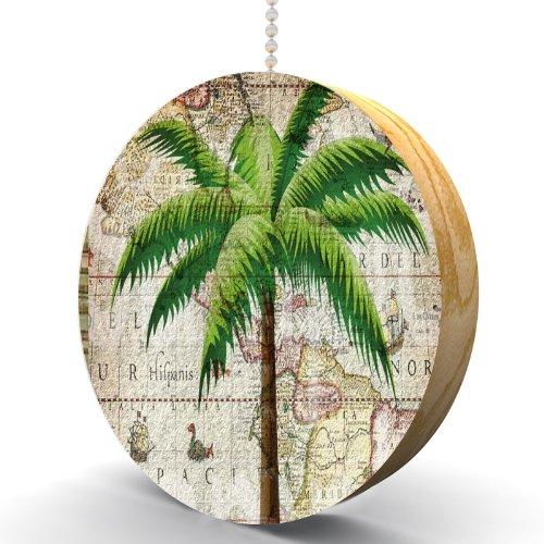 Classic Palm Tree Hardwood Oak Fan / Light Pull front-988405