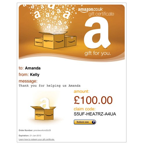 Amazon.co.uk Email Gift Card