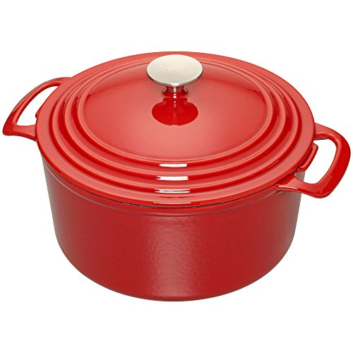 Cooks Enameled Cast Iron 7 quart Dutch Oven, Red, Medium