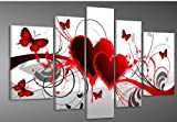 Hand-painted Free Shipping Wood Framed Oil Wall Art Red Flower Love Butterfly Home Decoration Abstract Landscape Oil Painting on Canvas 5pcs/set