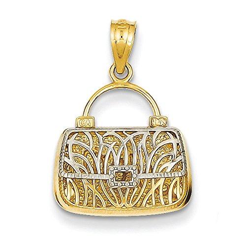 14K Bicolore Oro Reversibile Mamma Borsetta Ciondolo-Misure 25,9x 30.3mm
