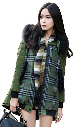 Ilishop Women'S Winter Coat Slim Md-Long Down Jacket With Removable Fur Navy-Green S