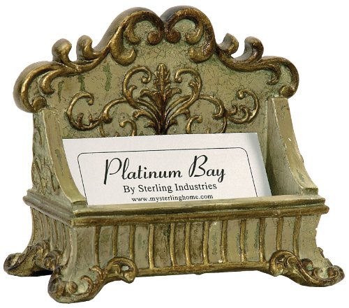 Sterling 91-3387 Lucinda Scroll Card Holder, 3 by 4-Inch, Painted Green/Gold Finish