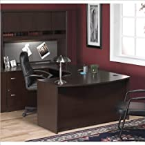 Big Sale Bush Furniture Corsa Series U-Shape Wood Home Office Set with Hutch in Mocha Cherry