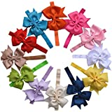 Qandsweet Baby Girl Headbands with Hair Flower Accessories (Bows-12colors)