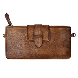 ZLYC Vintage Handmade Dip Dye Leather Long Clutch Zip Wallet Chain Cross Body Bag, Brown