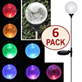 SET OF 6 Color-Changing Crackle Glass Globe Solar Stake Light by SOLAscape®