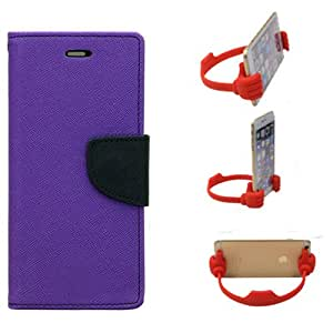 Aart Fancy Diary Card Wallet Flip Case Back Cover For Samsung ON7 - (Purple) + Flexible Portable Mount Cradle Thumb Ok Stand Holder By Aart store