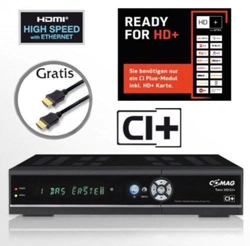 COMAG digitaler Satelliten Receiver Twin-Tuner HDTV mit 500 GB Festplatte (CI+, HDMI, USB 2.0, PVR ready, 1080p (Senderabhängig), 1080i, 720p, 576p) inkl. Qualitäts-HDMI-Kabel für HD+ schwarz