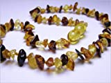 Baltic Amber Baby Teething Necklace w/ Jewelry Pouch - Multicolored Chips