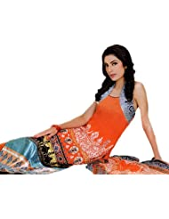 Exotic India Coral Long Salwar Suit From Pakistan With Embroidered Shirt - Coral