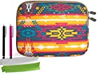 ColorYourLife Bundle of Canvas Fabric Indian Pattern Laptop Sleeve Case Bag for iPad 2/3/4 Samsung GALAXY Note 10.1 (2014 Edition) 10-inch Tablet with 2 Stylus Pens and Microfiber Cleaning Cloths (Indian pattern, 10 inch)