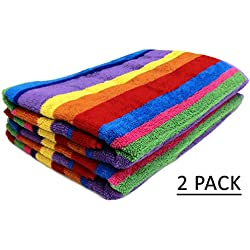 Cotton Craft - Jacquard Double Woven Velour Beach Towel 32x63 2 Pack, Summer of Siam Multi Stripe, Thick Plush Luxurious Velour Pile, 450 GSM, 100% Pure Ringspun Cotton, Brilliant Vibrant Colors