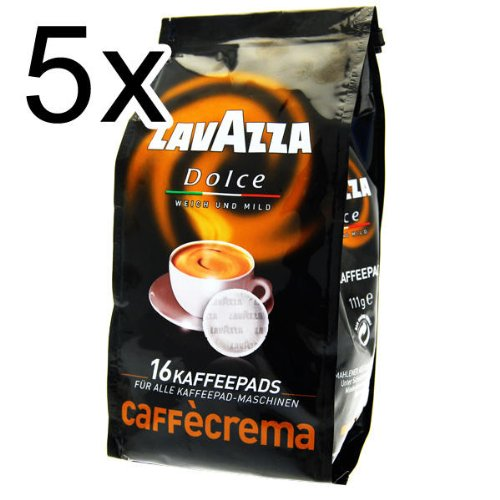 Lavazza Caffè Crema Dolce, Pack of 5, 5 x 16 Coffee Pods