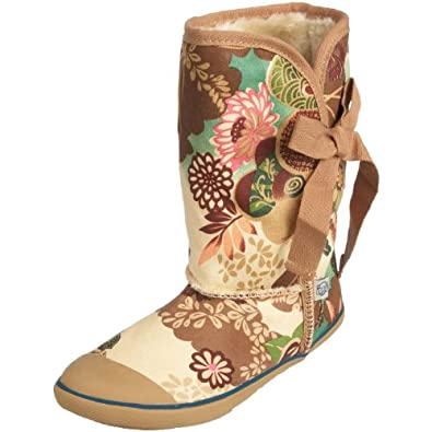 Sugar asian floral origami boots - black