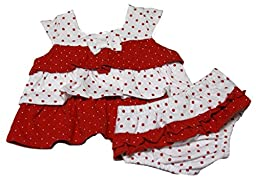 Absorba Baby-Girls Newborn Print Two Piece Short Set, Red/White, 3-6 Months