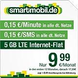 smartmobil.de 5 GB LTE Handytarif  [SIM, Micro-SIM und Nano-SIM] 24 Monate Laufzeit (5 GB LTE Internet-Flat mit max. 50 MBit/s, 0,15 Euro pro Minute, 0,15 Euro pro SMS, 9,99 Euro/Monat in den ersten 12 Monaten, danach 17,99 Euro/Monat) O2-Netz