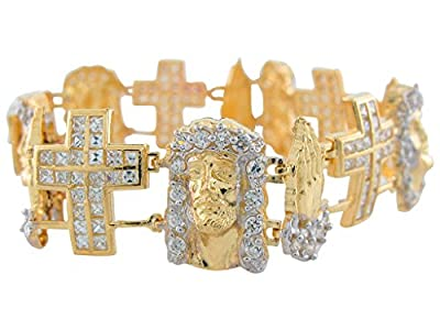 10k Two-Tone Gold Bright White CZ Face of Jesus Praying Hands and Cross Bracelet