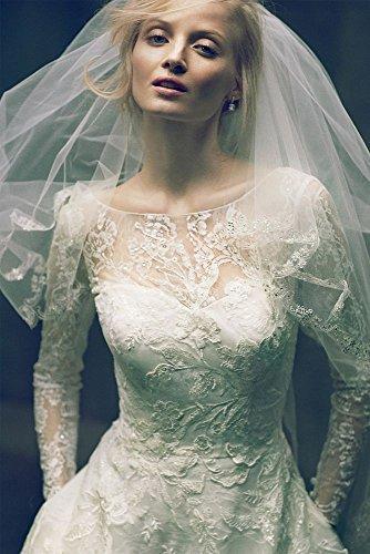 a720d37dfcae Short Oleg Cassini Tea Length Lace Tulle Wedding Dress Style CWG663, Ivory,  12