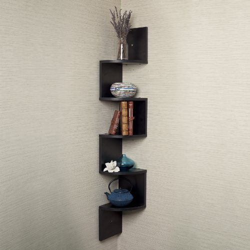 Danya B. Large Corner Wall Mount Shelf-Black Laminate