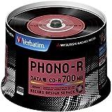 三菱化学メディア Verbatim CD-R 700MB 1回記録用 48倍速 スピンドルケース 50枚パック レコードデザインレーベル SR80PH50V1