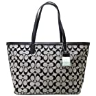 Coach Legacy Weekend Signature C Medium Zip Top Tote (Black White/Black)