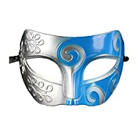 Coxeer® Gladiator Halloween Party Facial Masquerade Mask (Silver & Blue)