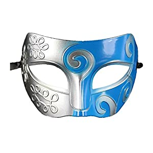 Coofit® Retro Roman Gladiator Halloween Party Masks Man Woman Children Masquerade Mask (Silver & Blue) by Coofit