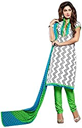 AVC-Colourful Women's Chanderi Unstitched Salwar Suit (1001, White)