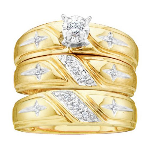 14K Yellow Gold Round Diamond Cross Christian Matching Mens Womens Trio Wedding Bridal Ring Set Sizes