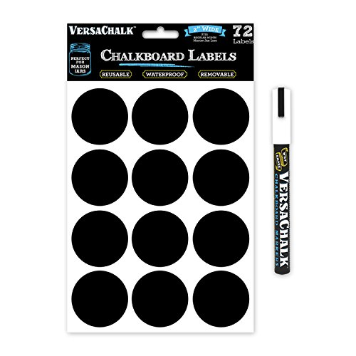 72 Round Chalkboard Mason Jar Lid Canning Labels for Food Storage, Pantry, Spice Jars & Freezer! Waterproof Black Vinyl Chalkboard Stickers are Ideal for Chalk Markers (2.0 Inches Wide) (Freezer Jam Kit compare prices)