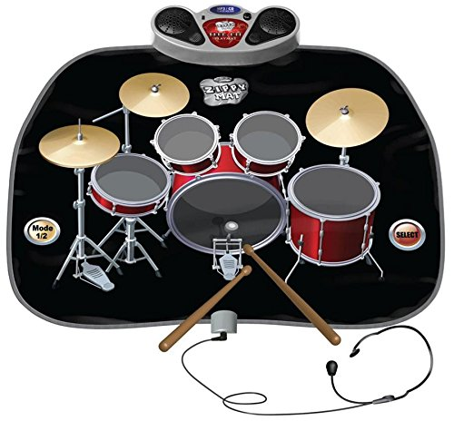 CHILDRENS / KIDS DRUM KIT SET PLAYMAT PLAY MAT INCLUDES HEADPHONES WITH MIC & DRUM STICKS MP3 / CD Amplifier - TOUCH SENSITIVE, FOLDABLE, AND PORTABLE. ELECTRONIC FLOOR MAT