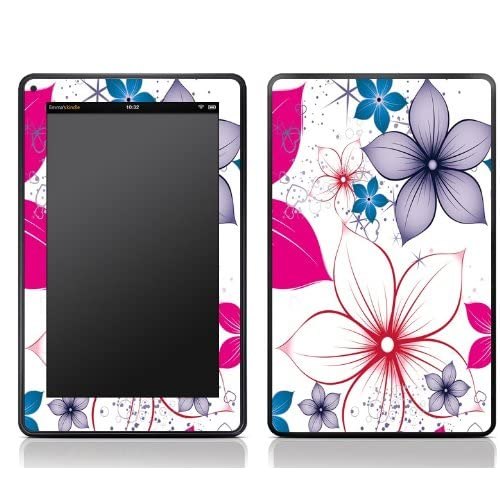White Pink Flower Design Kindle Fire Skin Sticker Cover Art Decal, Latest Generation (Matte Finish)