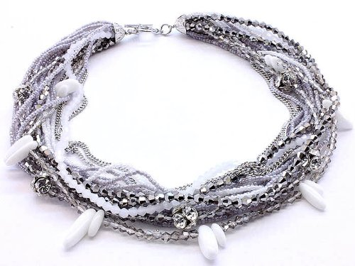 NECKLACE MULTI STRAND GLASS BEAD GRAY Fashion Jewelry Costume Jewelry fashion accessory Beautiful Charms
