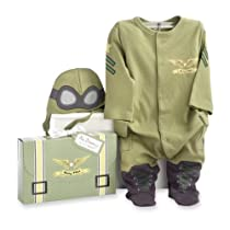 Baby Aspen, Big Dreamzzz Baby Pilot Two-Piece Layette Set, Green, 0-6 Months