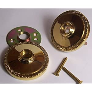 Un-lacquered Solid Natural Brass Retrofit Rosettes Retrofit to Fit Your Finest Antique Knobs in Modern Pre-drilled Doors. Hand Forger Natural Brass Egg & Dart Rosettes with a Premium Self-connecting System.