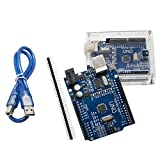UNO R3 Plus Acrylic Case ATmega328P CH340 - ALLUS U6011 UNO Board with Transparent Acrylic Case and USB Cable Compatible with Arduino UNO R3