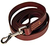 Logical Leather 6 Foot Dog Training Leash - Best Water Resistant Heavy Full Grain Leather Lead - Lifetime Guarantee - Brown