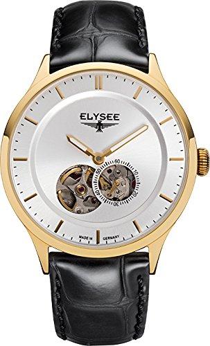 Elysee Nestor reloj para hombre de oro con correa de cuero Negro