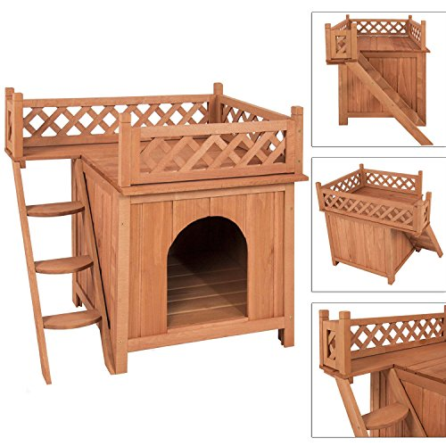 Wood Pet Home Wooden Puppy Room Indoor & Outdoor Roof Balcony Bed Shelter Natural Wood Color Wooden Pet Dog House covered Indoor (Homemade Food Halloween Costume)