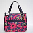 COACH Poppy Floral Print Large Hallie East West Tote in Navy Blue / Multi 22442