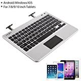 BATTOP Slim Wireless Bluetooth Keyboard with Multi-Touchpad Built-In Unique Autoshrink Hidden Stands for Windows, Android 4.0 and Above System Tablet/PC/ Smart Phone