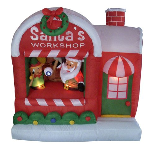 5' Airblown Inflatable Santa'S Workshop Lighted Christmas Yard Art Decoration front-142780