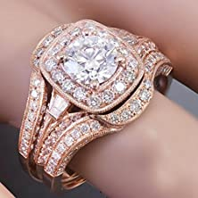 buy 14K Rose Gold Round Cut Diamond Engagement Ring And Bands 2.50Ctw H-Vs2 Egl Usa