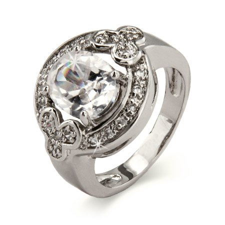 Diamond CZ Oval Cut Halo Ring in Sterling Silver Size 7 (Sizes 6 7 8 9 Available)
