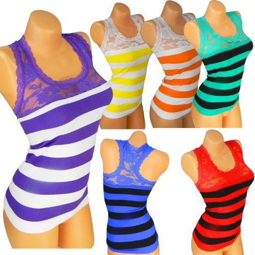 Sexy Damen T-Shirt mit Spitz Tank Top Spitze Body Tunika Dekolte Microfaser VM86